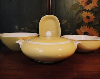 Villeroy & Boch Biarritz yellow soup tureen, serving bowls, and small serving platter