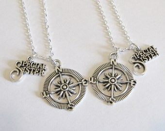 2 Sisters Necklaces, 2 Special Sisters Compass Necklaces, Compass Necklaces, Sisters Necklaces, Two Sisters Necklaces