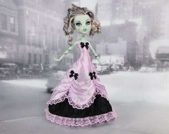 Long black  and light pink victorian dress hand made fits Monster High doll