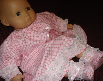 Pink flannel Long Nightgown and Slippers 15 inch doll, such as Bitty Baby