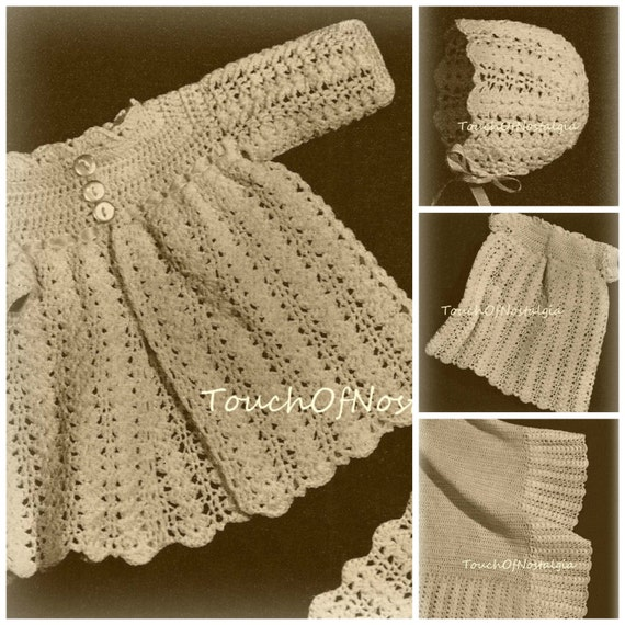 Items similar to LACY Baby Dress Set Crochet Pattern - 6 ...