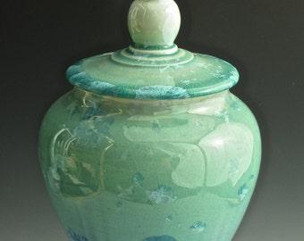 Crystalline Urn, Keepsake Urn, Pet Urn, Treasury Urn,  Lidden Container in Handmade\, Crystalline Pottery