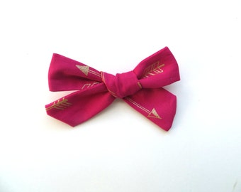 Hand Tied Hair Bows/One Size Fits All/Little Girls Bows/Valentine's Day Bows/Gold Bow/Arrow Bow