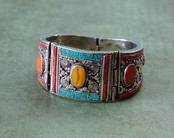 Unique wide Tibetan statement cuff bracelet