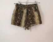 Vintage Snake Skin Print Cord Velvet Hot Pants Short High Waisted Shorts Frayed