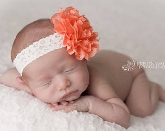FREE SHIPPING! Coral Headbands, Coral Headband, Coral Flower Headbands, Newborn Headband, Baby Bows, Photography Prop