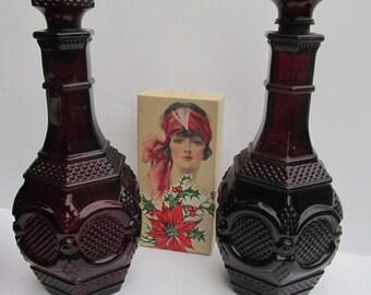 Ruby Glass Wine Decanter Avon Cape Cod Red Liquor Decanter 1876 Avon Bubble Bath Avon Ruby Glass Red Glassware Avon Bubble Bath