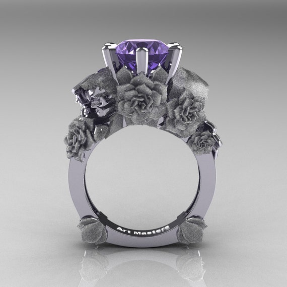 Love And Sorrow 14k White Gold 3 0 Ct Tanzanite Skull And Rose