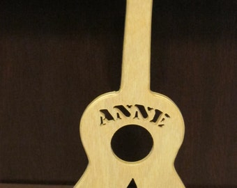 Customize Ukulele or Guitar Tabletop Ornament Cut from Wood