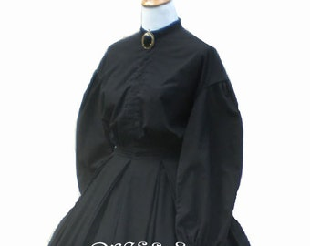 Ladies Civil War Mourning Dress Bust 36 Waist 26 Garibaldi Style Shirt & Pleated Skirt Authentic Reproduction Living History Dress
