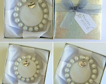 Pearl Bracelet, Bridesmaid, Flower girl, Maid of Honour etc. Heart charm in a Personalised Gift Box, Wedding,Thank you gift