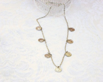 Coins Necklace / women's jewelry / jewelry / teen Jewelry / silver color coins / women