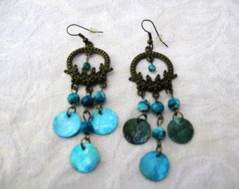 Blue Chandelier Earrings / women's jewelry / teen jewelry / women / pierced earrings