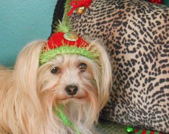 Dog or Cat Hats Crocheted Christmas Elf Costume. Pet Santa Hat