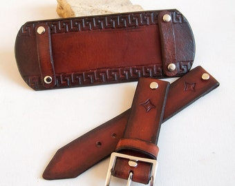 Watch Leather strap, Greek style watch strap, Watch band, Watch cuff strap, Veg tanned leather