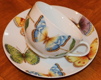 "Queen's Porcelain China ""Butterfly"" Pattern - Three Cups and Three Saucers"