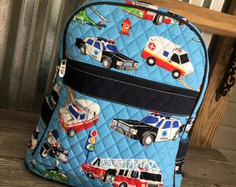 Backpack/Quilted Child's Fire Truck/Transportation Backpack