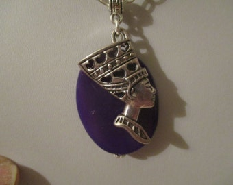 Egyptian Queen Nefertiti Purple Agate Necklace