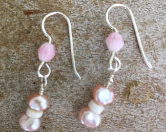 Pink, freshwater pearls and glass, Sterling Silver!