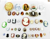 This item is ON SALE Cameo Cabochons 40 Jewelry Making Vintage Supplies large oval glass resin plastic flat back