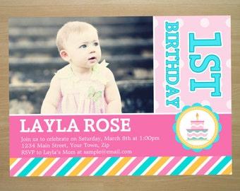 Rainbow Girl 1st Birthday Invitation - Digital File (Printing Available)