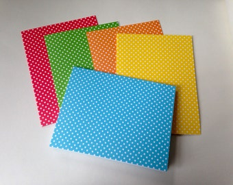 Polka Dot Stationery, Contemporary Note Cards, Set of 5, Blank Cards, Bright Colored Cards, Thank You Card, All Occasion Card with envelope