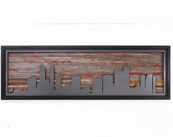 City skyline with a Fiery Red Sunset, made from reclaimed barnwood and natural black steel. Large art, wood wall sculpture, Wood wall art