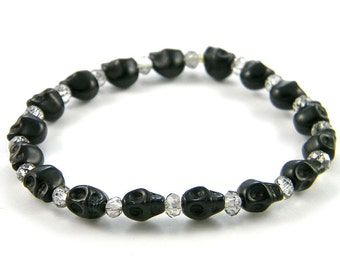 Small (8mm) Day of the Dead Skull Bracelet (Dia De Los Muertos - All Saints Day) - Available in other colors