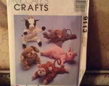 McCall's 9113 Bambeanies by Joanne Beretta Bean Bag Animals 1997 UnCut