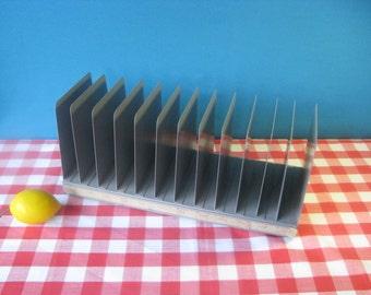 Lit Ning Vertical Desk Tray - Organizer - 12 Slot - Heavy Metal - Industrial Office -  Vintage 1960's