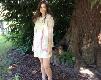 Mori  Girl Upcycled Dress Cream Lace  and Shabby Chic Vintage Materials  Fairytale Cutie