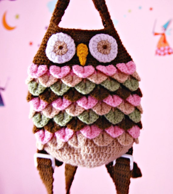 Crochet Bag For Kids : Cute Kids owl bag. Crochet backpack for toddlers. Owl like bag ...