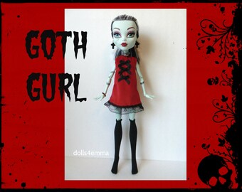 "Monster High 17"" Doll Clothes - Goth Dress + Stockings + Jewelry - Handmade custom fashion by dolls4emma"