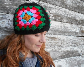 Granny Square Women's Beanie - Colorful Crocheted Hat - Women's Hat - Granny Square Hat - Gift Idea for Her