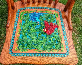 Vintage chair with tooled leather seat