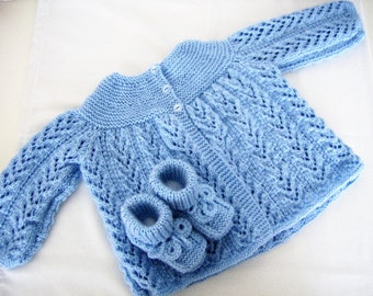 Knitted blue baby jacket/sweater and booties set - baby boy shower gift -  baby booties - blue booties - baby knitted set - baby boy