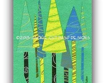 "Whimsical tree collage, Giclee print 5 x 7"", Woodland nursery tree art, Forest nursery print, Christmas art, Tree nursery art, Cabin art"