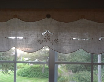 Window Rod Pocket Valance Topper from Upcycled Vintage Light Tan / Ivory Shabby Country Chic - by Atlantic Rock Threads
