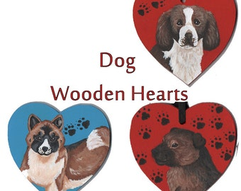 Dog Wooden Heart Signs - Springer Spaniel and Border Terrier - SALE