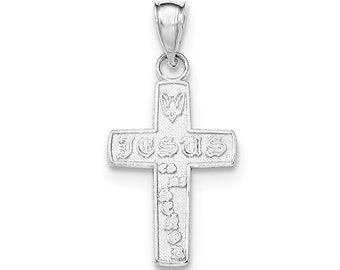 Sterling Silver Polished Mini Good Luck Icon Cross Pendant