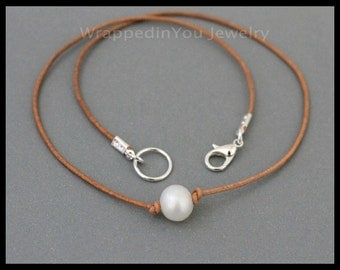 Boho Single Pearl CHOKER - Knotted Large Freshwater Pearl Leather Choker Necklace w/ Lobster Clasp closure - Pick COLOR / LENGTH - Usa - 998