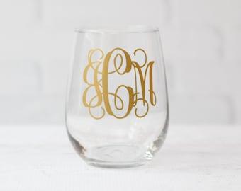 monogram wine glass // personalized wine glass // Wedding Gift // Anniversary Gift // Gift for Her // birthday gift // teacher gift