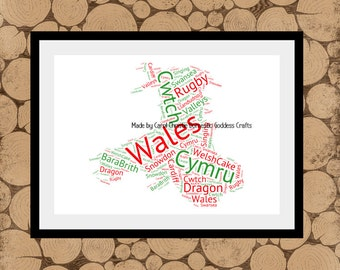 Map Of Wales, Map Of Wales Word Art, Welsh Word Collage, Welsh Word Art, Welsh Word Cloud, Map Of Wales, Personalised Map Of Wales.
