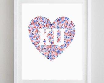 KU Heart Floral Watercolor Art Print