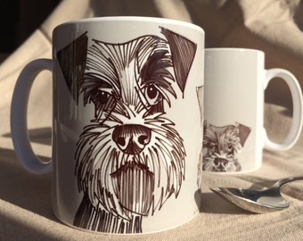 Schnauzer Mug. Contemporary illustration of three schnauzers in grey on a mug. By Bethany Moore
