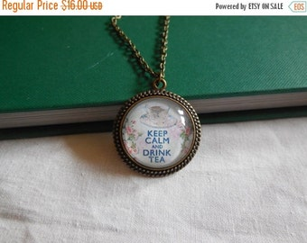 Big Summer Sale Keep Calm and Drink Tea, Necklace, Jewelry, Antique Bronze, Teacup, Relax, Tea Lover