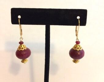 Exotic Red Jade Leverback Earrings