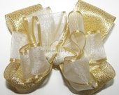 Fancy White Gold Hair Bow Organza Satin Metallic Lame Ribbon Baby Girls Toddler Childrens Accessories Wedding Party Church Pageant Occasion