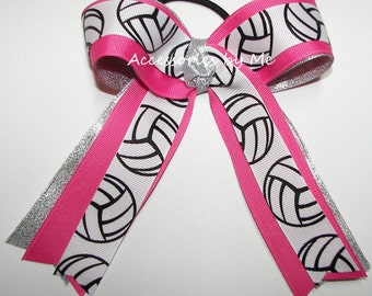 Volleyball Ribbon Bow, Volleyball Pink Silver Bow, Volleyball Ribbon Streamers Ponytail Holder, Breast Cancer Cheap Team Bows, Bulk Price