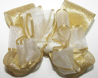 White Gold Hair Bow, Organza Satin Metallic Lame Ribbon Clip, Baby Girls Toddler Childrens Accessory, Easter Church Pageants, Bows Barrettes